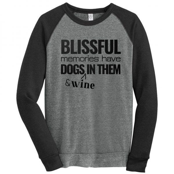 Blissful Memories Have Dogs In Them and Wine Eco-Fleece Colorblock Sweatshirt Mockup