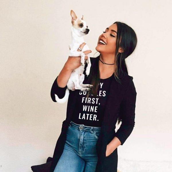 Puppy Cuddles First Wine Later – Shirt in Black