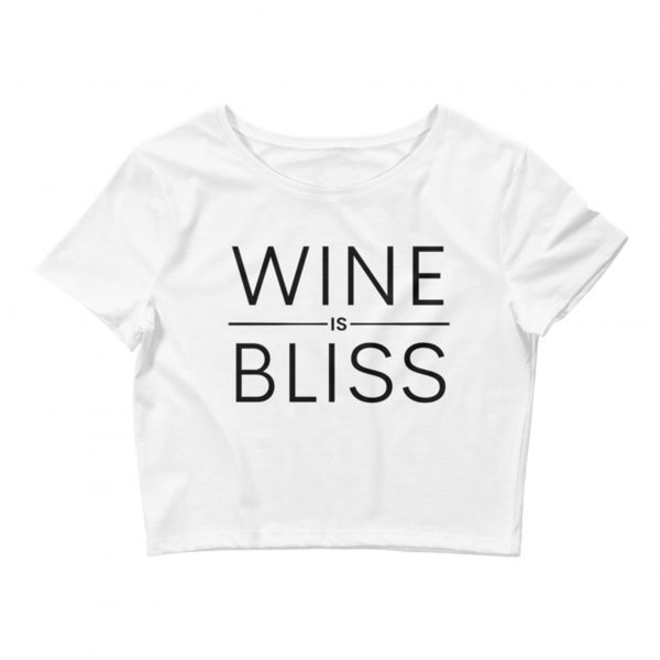 Wine Is Bliss Classic Crop Top – White