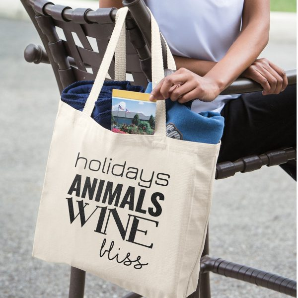 holidays Animals Wine bliss Farmers Market Tote – Canvas Color Hanging on Chair