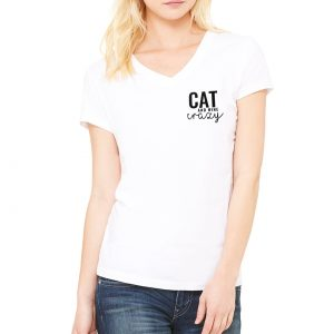 Cat & Wine Crazy V-Neck Tee in White on Model