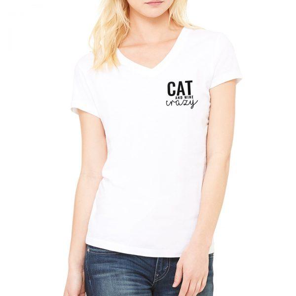 Cat & Wine Crazy V-Neck Tee in White on Model