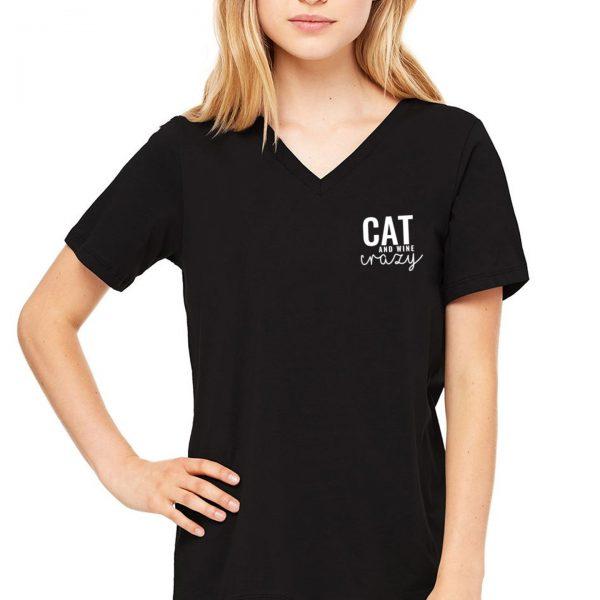 Cat & Wine Crazy V-Neck Tee in White on Model in Black