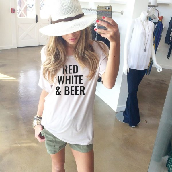 Red White & Beer Tee in White