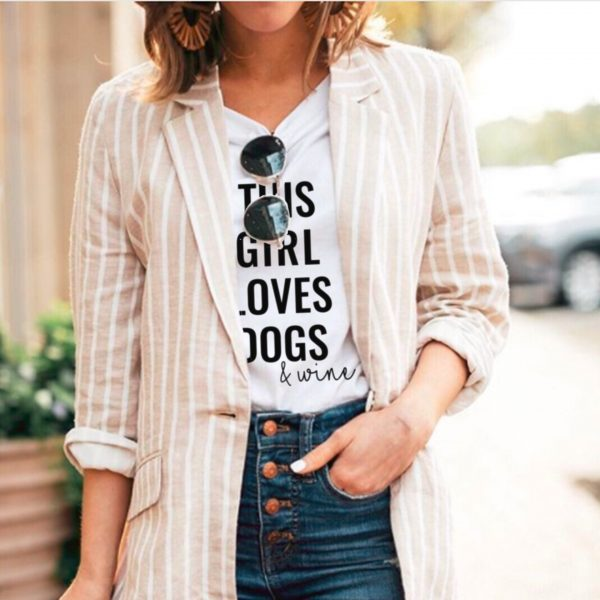This Girl Loves Dogs and Wine – Vertical White Shirt