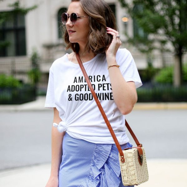 America Adopted pets and Good Wine Tee