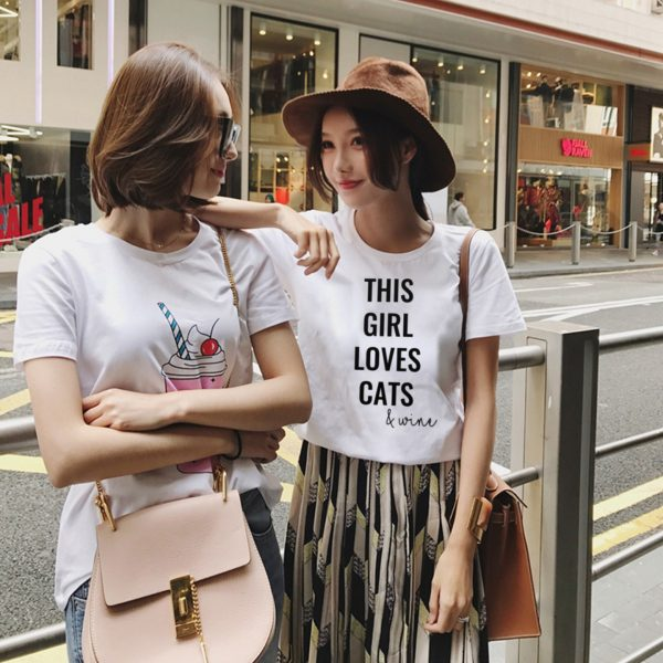 This Girl Loves Cats & Wine Tee in White in NY