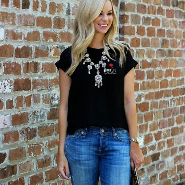 Grab Life by the Stem Embroaidery Shirt